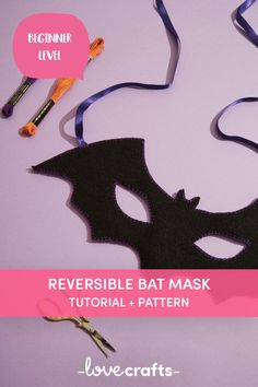 Dive into the world of hand embroidery with this brilliant Halloween DIY make! A super quick Halloween costume idea with just a few essentials needed. | Downloadable PDF at LoveCrafts.com Quick Halloween Costumes, Halloween Bats, Cross Stitch Embroidery, Hand Embroidery, Bat Mask, Cross Stitch Supplies, Craft Materials, Crochet Yarn, Sewing Projects