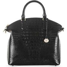 Brahmin Large Duxbury Satchel Melbourne ($295) ❤ liked on Polyvore featuring bags, handbags, black, genuine leather satchel handbags, satchel handbags, satchel purses, embossed leather purse and brahmin satchel