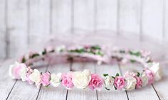 White and pink flower crown Bridal floral by LuckyKidsHandmade