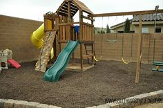Outdoor Swing Set-need to finish ours with trim and mulch/wood chip