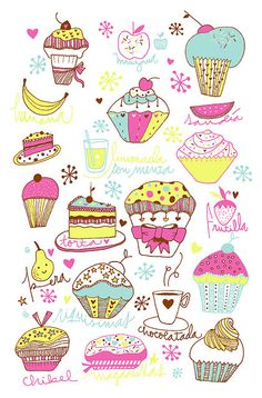 holamimi - Mek Frinchaboy - Illustrations for Fashion - Chibel Cupcake Illustration, Cute Illustration, Cupcake Art, Cute Backgrounds, Food Drawing, Food Illustrations, Collages, Doodle Art, Paper Goods