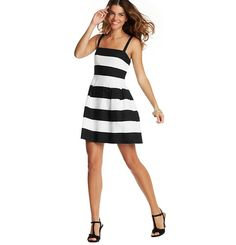 Loft - Dresses: Casual Dresses, Shirt Dresses, Cotton & Sheath Dresses: LOFT - Striped Sleeveless Flare Dress