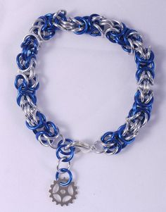 Blue and Silver Thick Steampunk Chainmaille Winter by ChainPunk