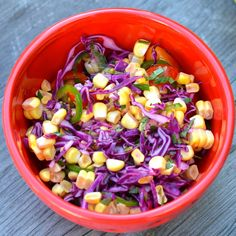 Spicy Cabbage and Corn Salad    Materials:        1/4 head red cabbage, shredded      Fresh kernels from 1 ear of corn      handful of cherry tomatoes, halved      1 jalapeño, deseeded and sliced thin      Juice from 1 meyer lemon      1 tablespoon white wine vinegar      1 heaping tablespoon fresh chopped mint      salt and pepper to taste