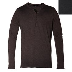 Very similar to our heathered henley.  This basic has been given a few twists. Soft washed cotton henley features waffle knit back shoulder yoke.  Tattered effect at placket, cuffs and neck. Button cuffs.  This item was made in the USA  100% Cotton. Machine Wash.