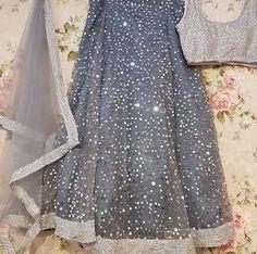 beautiful grey lengha with silver detail Indian Bridal Lehenga, Red Lehenga, Indian Wedding Outfits, Indian Outfits, Indian Designer Outfits, Designer Dresses, Stylish Dresses, Fashion Dresses, Lehnga Dress