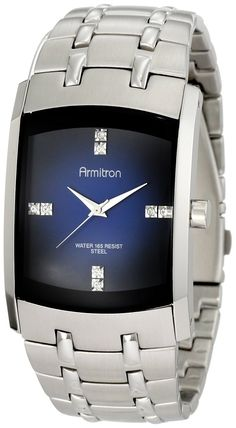 Armitron Men's 204507DBSV Stainless Steel Dress Watch with Swarovski Crystals -- Read more reviews of the product by visiting the link on the image.