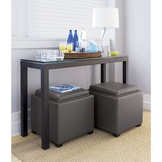 Parsons Console Table with Glass Top in Tables | Crate and Barrel - could work as bar table