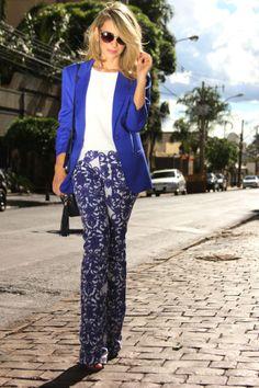 look trabalho estampa ajulejo blazer azul www.duofashion.com.br