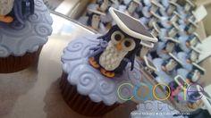 mini cupcakes decorados - tema corujinha - formatura pedagogia