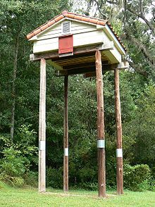 Very large bat house, Tallahassee, Florida, United States.  Many people put up bat houses to attract bats just as some put up birdhouses to attract birds. Reasons for this vary, but most revolve around the bats being the primary nocturnal insectivores in most, if not all, ecologies. Bat houses can be made from scratch or from kits, or bought ready made. Plans for bat houses exist on many web sites, as well as guidelines for designing a bat house. Some conservation societies give away free…