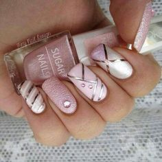 Imagem de nails, pink, and white