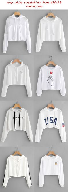 crop white sweatshirts 2017 - romwe.com
