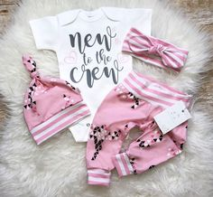 Newborn Baby Girl Outfit Baby Girl Coming Home Outfit Baby Girl Clothes New to the Crew  Organic Baby Girl Outfit Baby Shower Gift Pink by LLPreciousCreations on Etsy https://www.etsy.com/listing/541128821/newborn-baby-girl-outfit-baby-girl