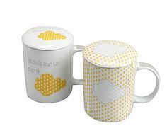 Set de 2 tazas con filtro en porcelana - blanco y amarillo
