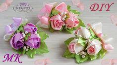 Rosas  clase maestra kanzashi. Clip / rosas brote en el ojal MK / DIY MARLENA-Hand Made - YouTube
