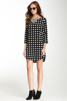 Printed Shift Mini Dress : put with tights for the fall/winter!