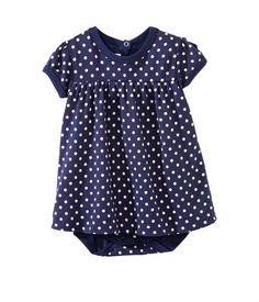 Bodyjurk voor babymeisjes met minibolletjesprint blauw Submarine / wit Lait
