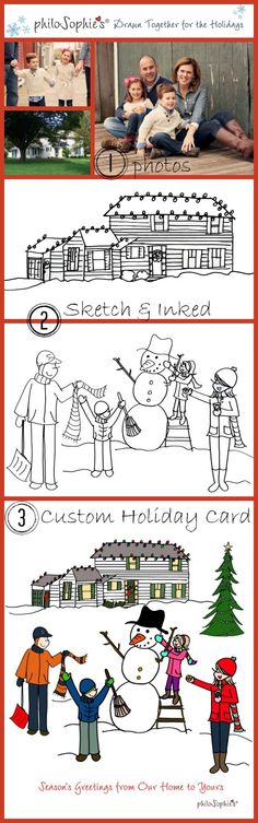 Custom Illustrations for your Holiday Cards. How it works. Check out Joanna Alberti's special talent at taking your story and transforming it into a philoSophie's custom illustration. Order Here: www.celebratewithsophies.com