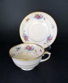 Vintage 1940s China Cup Saucer Rose Of Lamberton Dishes Made In Usa Gold Rim Porcelain American By Eclecticagallery On Etsy