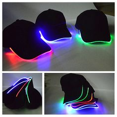 Glow Hats are battery and LED operated. Hat Color: Black. Head Girth: Approx. These hats are size adjustable for a proper fit. These are really cool hats! Material: Cotton. Light Color: Red, Green, Blue. | eBay! Glow In Dark Party, Glow Stick Party, Glow Sticks, Black Light Party Ideas, Cool Baseball Caps, Baseball Hat, Baseball Fashion, Light Up Hats, Fashion Pattern