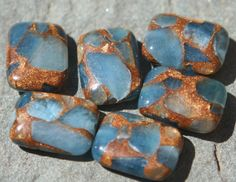 Six rectangle golden agate quartz beads by debsdesigns401 on Etsy