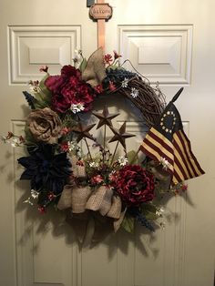 Americana Door Wreath, Fourth of July Wreath, Independence Day ...