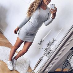 Solid Color V-Neck Sexy Long Sleeve Dress
