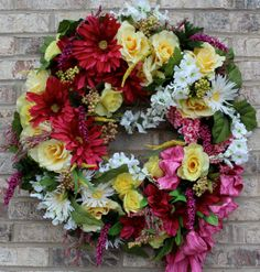 Summer Wreaths for Front Doors | Items similar to Pink Lemonade Summer Front Door Wreath on Etsy