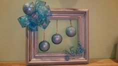 Christmas wreath, Door wreath, picture frame wreath, silver blue wreath by KaterinaKatka on Etsy