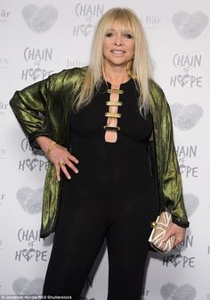 Keeping it age-appropriate: Jo Wood looked more tasteful in her choice of ensemble. Jo Wood, Pink Gowns, Charity, Pixie, Fashion Inspiration, Backless, Kimono Top, Entertainment, Age