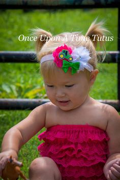 Hot Pink Farmer Girl Shabby Flower Headband - Sparkly Rhinestone Tractor Hair Bow - Country Theme Birthday Party Hairbow - Photo Prop
