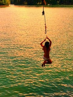 Swinging From a rope and falling into the water, so want to do this!!! ( :