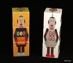 Wood Lil' Robot Blocks Set of 6 wooden puzzle toys or nursery decor. $21.00, via Etsy.