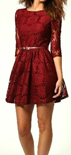 Elegant Lace Dress With Belt - Wine Red