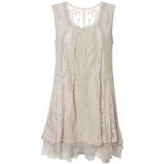 Stone Buttons & Tulle Tunic Dress