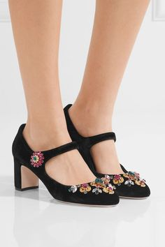 Dolce & Gabbana | Vally embellished velvet Mary Jane pumps | NET-A-PORTER.COM