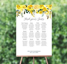 Yellow Floral Wedding Seating Plan from each Seating Plan Wedding, Wedding Reception Venues, Wedding Table, Wedding Events, Seating Plans, Table Seating, Weddings, Wedding Ceremony, Reception Table Decorations