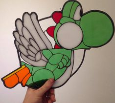 Yoshi inspired glass piece by stainedglassgeek on Etsy