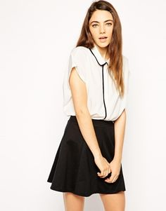 ASOS Grown on Sleeve Blouse with Contrast Piping €35.55