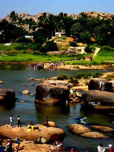 Hampi River, one of my favorite climbing spots in the word.  where coconut groves, rice fields are enchanted by worlds oldest kingdom and sounds of temple bells sounding off in all four directions...love this ladn