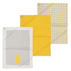 3 torchons en coton gris/jaune PINAPPLE