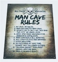 Man Cave Rules Top 10 Gameroom Bar Pub Novelty Tin Sign Your sign is made from metal and measures x It is multi-colored, with black lettering and will look great with most decors. Includes 4 pre-drilled holes for easy hanging. Vintage Tin Signs, Vintage Bar, Retro Vintage, Man Cave Rules Sign, Pub Signs, Man Room, Metal Tins, Funny Signs, Tricks