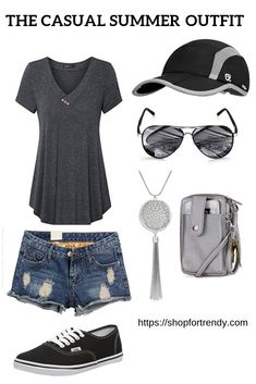 Trendy Summer Look With Denim Shorts, Summer Outfits, My favourite casual summer look this summer. Check out this mix and match outfit. The highlight colours are grey, black and blue. Also, check out more. Edgy Outfits, Cool Outfits, Fashion Outfits, Black Jeans Outfit, Outfit Trends, Outfit Ideas, Stitch Fix Outfits, Casual Summer Outfits, Spring Outfits