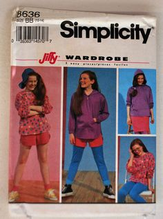 Simplicity Pattern 8636 - Jiffy Wardrobe Three Easy Pieces, Leggings, Shorts, Skirt and Top, Size (12-14), For Stretch Knits Only by littlerosecreations on Etsy