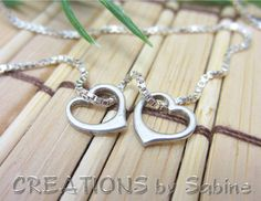 Heart Pendants Necklace, two tiny hearts, Sterling Silver, Love, Vintage REDUCED PRICE
