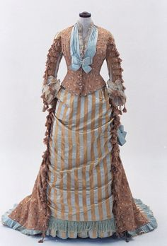 This Victorian dress is a confection of chocolate & baby blue! Bunka Gakuen Costume Museum c.1875