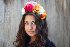 Frida Kahlo Floral Crown - Day of the Dead,  Dia de los Muertos, Frida Headband, Halloween Costume, Frida Kahlo Flowers, Frida Crown, Tiara