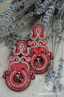Marsala soutache earrings