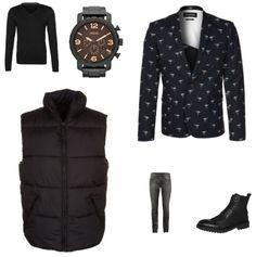 Printed Blazer Outfit outfit - Fashion trends - Bij deze look draait het allemaal om de printed blazer van Minimum. Door hem te combineren met de trui en de bodywarmer, beide van Selected Homme, ontstaat een mooi geheel. De jeans van Denham, schoenen van Selected Homme en het horloge van Fossil maken de look compleet.